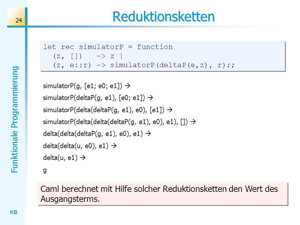 Reduktionsketten let rec simulatorP = function (z, []) -> z | (z, e::r) -> simulatorP(deltaP(e,z), r);;
